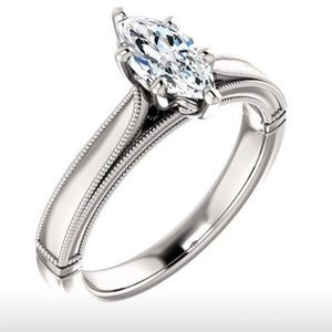 RING NEW 925SS WHITE GOLD MARQUISE SAPPH